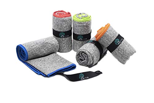 Acteon Microfiber Gym Towels - Quick Dry Antibacterial Workout Towel - Fights Odors - Compact Sports Towel for Workout, Travel, Camping - Ultra Lightweight Sweat Towel - 5-Pack Heather Gray - 30'x16'