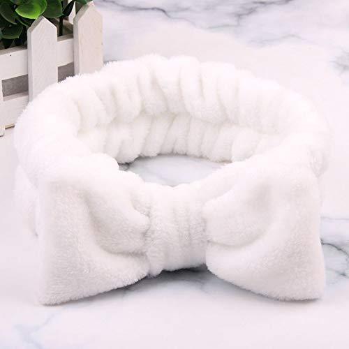 SSB-TOUDAI, Femmes Maquillage Coral Polaire Bandeau Lavage Visage Doux Titulaire De La Cheveux Élastique Top Noeud Bandeaux for Les Femmes Fille Chapeaux Cheveux Accessoires (Color : White)