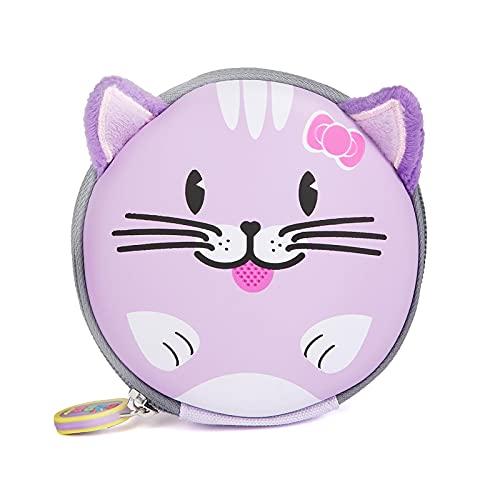 boppi Tiny Trekker Portamonete portachiavi da viaggio piccolo borsellino da viaggio borsetta portachiavi con zip - Gatto Viola