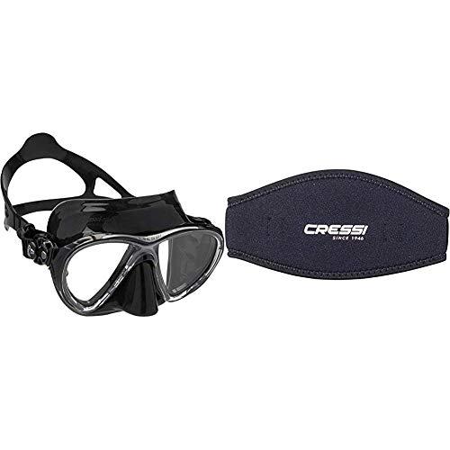 Cressi Big Eyes Evolution - Gafas de Buceo + Mask Strap - Funda de Correa de Surf, tamaño único, Color Negro