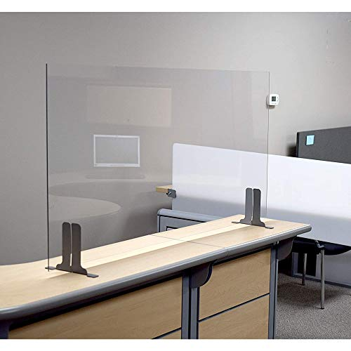 Post Pandemic Partitions Commercial Grade Freestanding Antimicrobial Desk, Table, Countertop Clear Acrylic Sneeze Guard Personal Protection Shield - 30'W x 24'H