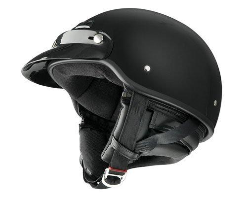 Raider Deluxe Half Helmet (Gloss Black, X-Large)