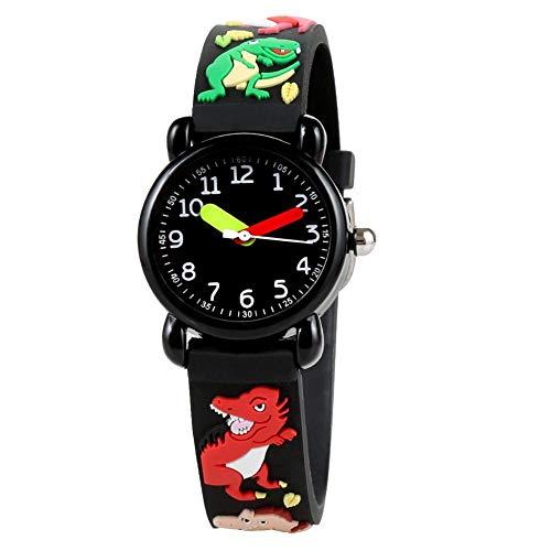 Kinderuhr für Jungen 3D-Cartoon-Dinosaurier-Muster Wasserdichtes Quarzwerk Edelstahlschnalle Acrylglas PVC Baby Mädchen Electric Toys Watch(Dinosaurier)