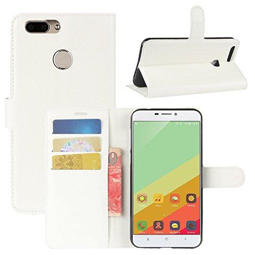 HualuBro Oukitel U20 Plus Hülle, Premium PU Leder Leather Wallet HandyHülle Tasche Schutzhülle Flip Hülle Cover für Oukitel U20 Plus Smartphone (Weiß)