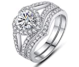 HengSun Flame Reflection Stainless Steel Rings Wedding Set Round CZ Cubic Zirconia Wedding Sets for Women Halo Rings for Jewelry Set Engagement Ring Set for Women 925 Sterling Silver (US 8)