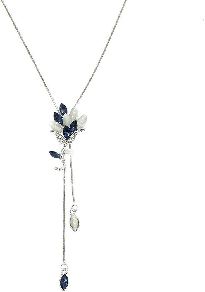 Qiaoqiao Women's Crystal Tulip Flower Tassel Pendant Long Chain Necklace Elegantly Adjustable Flower Pendant Sweater Tassel Necklaces Fashion Jewelry for Women Girls