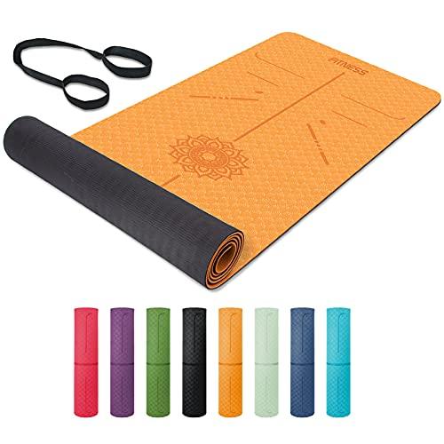 Esterilla Yoga, TPE Antideslizante Colchoneta de Yoga para Entrenamiento en casa y Gimnasio Ejercicio, Esterilla Fitness para Yoga, Pilates, Deporte, 183mm x 61mm x 6mm
