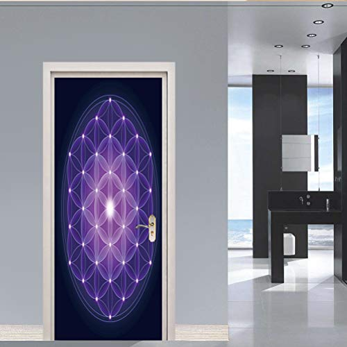 TMANQ 3D Door Mural Office Art Door Stickers For Interior Doors,77X200Cm Abstract Purple Art Pattern Bedroom Living Room Bathroom House Decoration Home Decoration Poster Wall Art Murals Decals