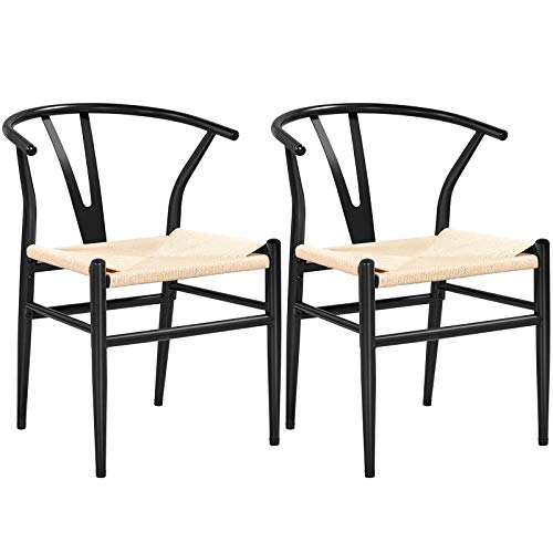 Yaheetech Set of 2 Wishbone Chair Mid-Century Metal Dining Chair Y-Shaped Backrest Hemp Seat, Black