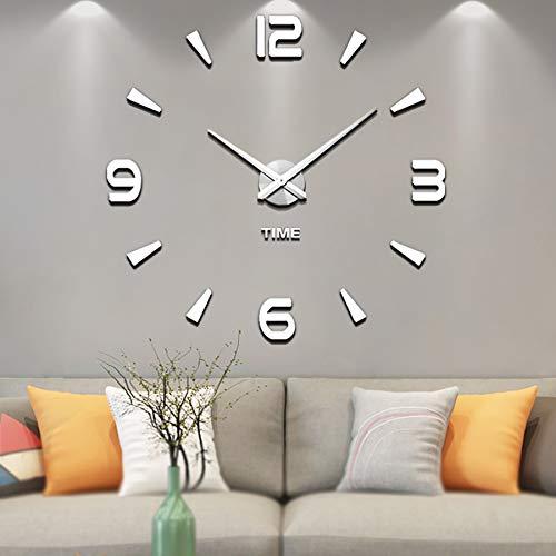Vangold Moderne Mute DIY große Wanduhr 3D Aufkleber Home Office Decor Geschenk (Silber-73)