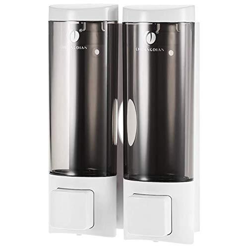 Blusea CHUANGDIAN 2 * 200ml Dispensador de jabón Manual para Manos con Cinta de Espuma de Doble Cara Montaje en Pared Champú líquido Doble