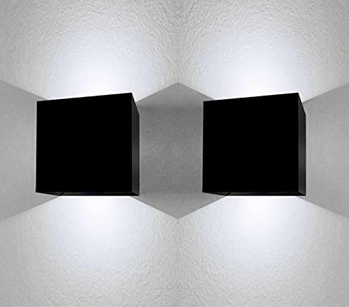 Aplique pared exterior 12W impermeable IP65 luz blanca fria 6000K lampara exterior pared apliques pared exterior luz exterior pared Clase eficiencia energetica A++ negro (2 Uds)