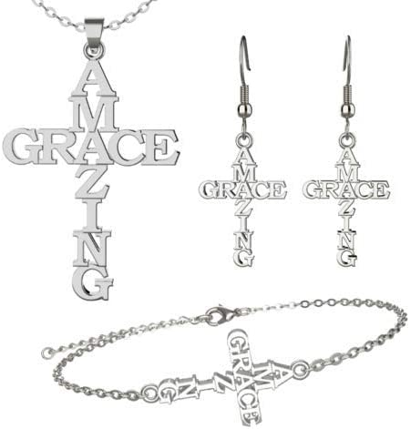 Amazing Grace Jewelry Set Stainless Steel Letter Cross Necklace Pendant Neck Decoration Amazing Grace Pattern Earring for Women Religious Faith Christian Jewelry Gift