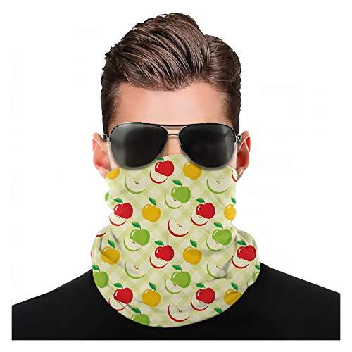 Yeuss Apfelstoff von Kopftuch, Diagonales Karomuster mit Äpfeln und Scheiben Retro Country Kitchen Theme, Sportkopfbedeckung Gesichtsmaske Staubmundabdeckung Modemuster Kopftuch