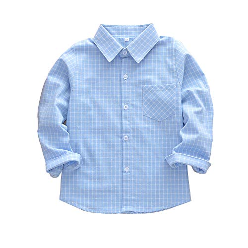 Kid Girl Boy Long Sleeve Button Down Plaid Flannel Shirt Light Blue Tag 110-US 3T