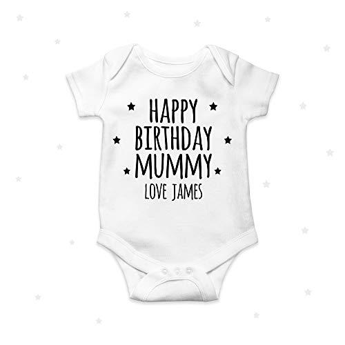 Mamá de feliz cumpleaños personalizado bebé crecer bebé mono ropa de bebé mono 9 meses