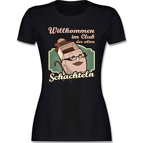Geburtstag - Willkommen im Club der Alten Schachteln - M - Schwarz - Club der Alten Schachteln Tshirt - L191 - Tailliertes Tshirt für Damen und Frauen T-Shirt