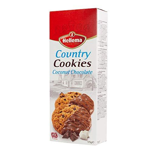 Hellema Country Cookies Kokos Chocolade Koekjes Coconut Chocolate Cookies – Koeken met kokosnoot gedeeltelijk bedekt met…