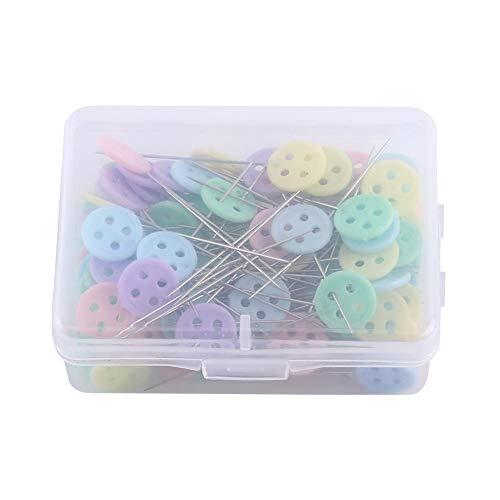 100 stuks bloemenpennen, kleurrijke quilting pin doos met bloem vlinderdas knoopkoppen om te naaien DIY project Knop