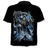 BRTSA Conception T-Shirt Hommes/Femmes Heavy Metal Grim Reaper Crâne 3D Imprimé T-Shirts Casual Harajuku Style T-Shirt Streetwear À