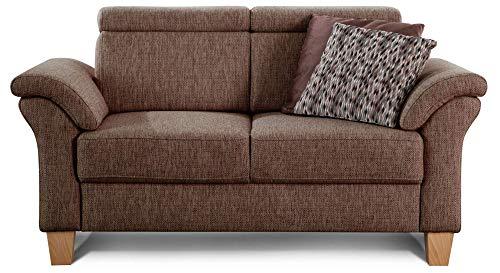 Cavadore 2-Sitzer Sofa Ammerland / Couch mit Federkern im Landhausstil / Inkl. verstellbaren Kopfstützen / 156 x 84 x 93 / Strukturstoff braun