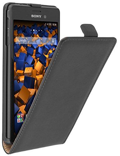 mumbi Tasche Flip Case kompatibel mit Sony Xperia M4 Aqua Hülle Handytasche Case Wallet, schwarz