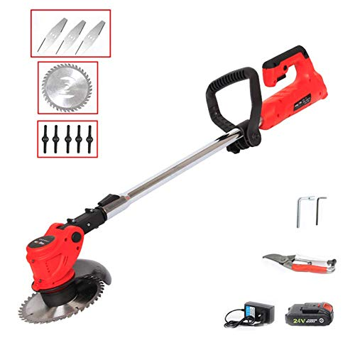Great Features Of XGGYO Cordless Grass Trimmer, 450W Professional Brush Cutter, for Shrub Garden Gra...