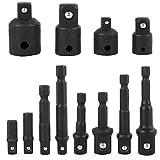 Bestgle juego de Adaptador de Enchufe de Adaptador de impacto Extensión de Destornillador , Socket Adaptador 4 piezas 1/4 a 3/8-3/8 a 1/4 pulgada(negro)