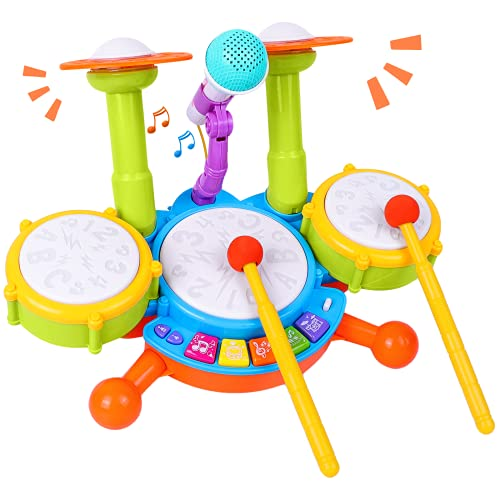 Rabing Kids Drum Set, Electric Musical Instruments Toys with 2 Drum Sticks,...