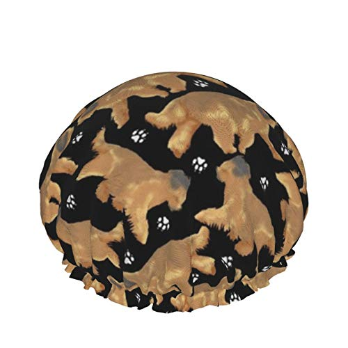 Gorro de ducha de doble capa para uso doméstico para mujeres, niñas, mujeres para cabello largo y rizado, para todas las longitudes de cabello (Trotting Briards And Paws Black)