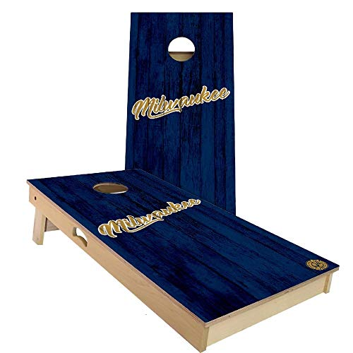 Skip's Garage Milwaukee Vintage Themed Baseball Cornhole Board Set - Backyard 2x4 (24' by 48' Regulation Size) - Includes 2 Boards and 8 All Weather Bags
