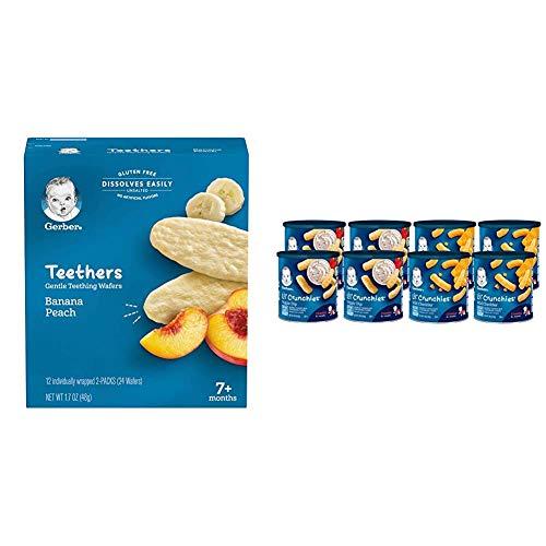 Gerber Teethers Gentle Teething Wafers - Banana Peach, 6 Count & Lil Crunchies, Mild Cheddar & Veggie Dip, 8 Count
