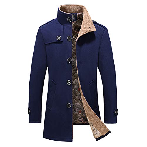 Hombres de Negocios cálido Grueso Invierno Lana Gabardina Abrigo de Lana Delgado Rompevientos Chaqueta Larga Prendas de Vestir 007 Dark Blue XL