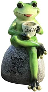 "EatingBiting 6"" Frog On Stone Coffee gets me Jumpin Resin Frog Garden Statue Frog Drinking Coffee Outdoor Sculpture Orname..."