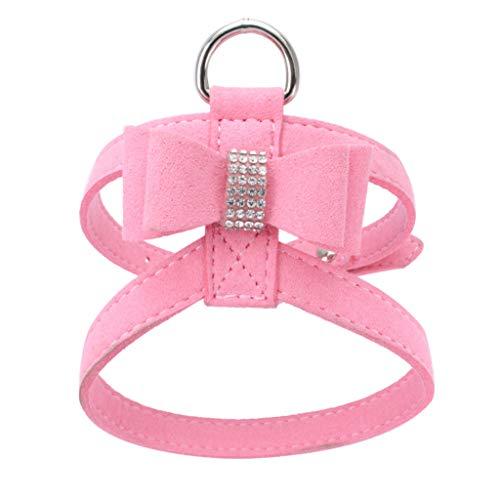 Verstellbarer Hund führt Bowknot Diamond Brustgurte (34-41cm,1Rosa)