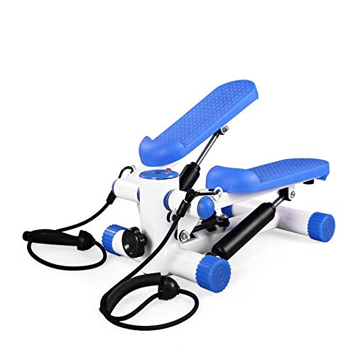 8bayfa Stepper Swing-Stepper met weerstandsbanden/thuisstepper met draadloze training rekenfitnessapparatuur (kleur: blauw, maat: 40.5x35x37cm)