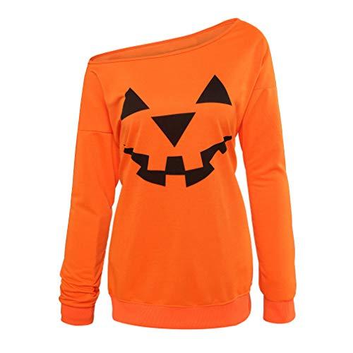 Niyage Women's Halloween Sweatshirts Pumpkin Face Shirt Easy Costume Fun Tops Off Shoulder Orange M