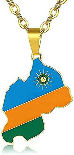 NC134 Halskette Mode mit Karte Anhänger & Ruanda Flagge für Frauen/Männer Ruanda Schmuck Farbe Afrikanischer Landschmuck Frauen Geschenke Women