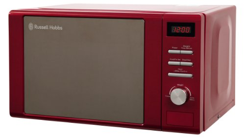 Russell Hobbs RHM2064R 20 Litre 800 W Red Digital Heritage Microwave with 5 Power Levels, Automatic and Weighted Defrost Settings, 8 Auto Cook Menus, Clock & Timer, Easy Clean