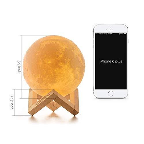 15cm Lámpara Luna 3D, ICONNTECHS Brillo Regulable 16 Colores RGB Recargable USB Control remoto y Control táctil LED Lunar Luz Nocturna Decorativa para Dormitorio, Salón, Regalo para Mujeres y Niños, L
