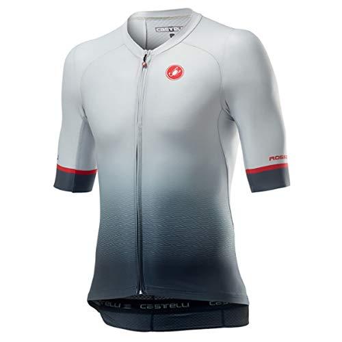 castelli Aero Race 6.0 Camiseta, Hombre, Silver Gray/Dark Gray, S