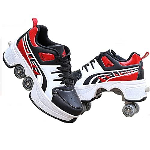 Unisexe Skates Deformation Schuhe,Inline-Skate, 2-in-1-Mehrzweckschuhe, Verstellbare Quad-Rollschuh-Stiefel,C-37