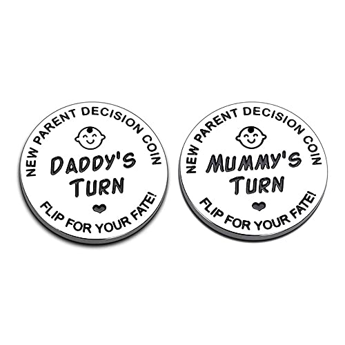 New Dad Mom Gifts Funny Decision Making Coin, New Baby Gift for Parent...