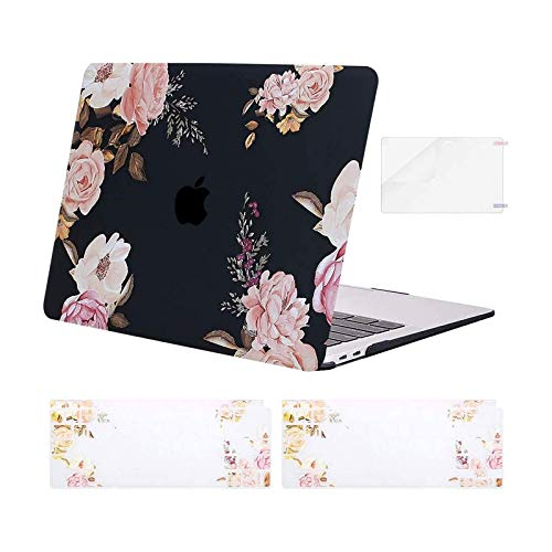 MOSISO MacBook Air 13 inch Case 2020 2019 2018 Release A2337 M1 A2179 A1932, Plastic Peony Hard Shell&Keyboard Cover&Screen Protector Only Compatible with MacBook Air 13 inch with Retina, Black