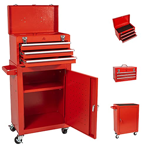 Large 3-Drawer Tool Chest Rolling Tool Box with 4 Wheels, Tool Cart High Capacity Tool Chest and Lockable Drawers Tool Chest for Garage and Warehouse (Red)