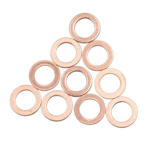 sourcing map 10stk. Scheiben Flach Dichtung Ring Unterscheibe 10mm Innendurchmesser Kupfer