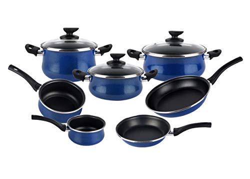 Magefesa Paula - Batería de Cocina 10 piezas. Material acero vitrificado exterior azul. Antiadherente bicapa, aptas para todo tipo de cocinas, especial inducción. 50% de ahorro energético.