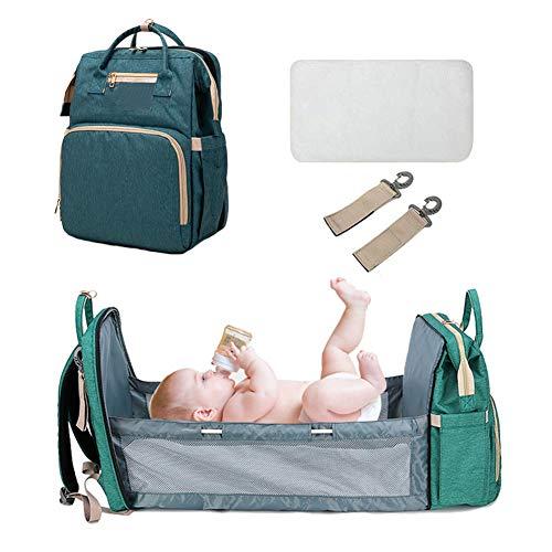 Bolsa de pañales portátil de viaje para bebé, bolsa cambiadora multifunción para bebé, bolsa cambiadora de pañales para maternidad, mochila de viaje con cama para cuna de gran capacidad (verde oscuro)