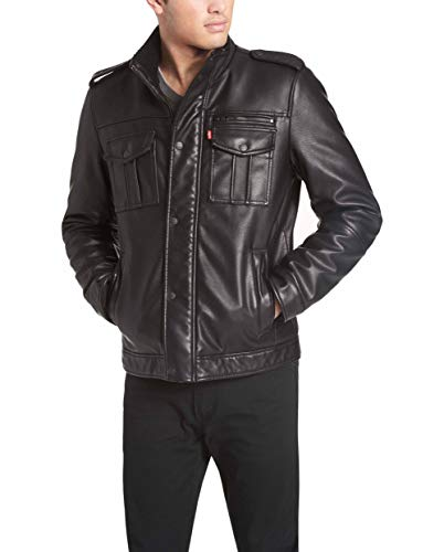 Levi's Men's Vintage Deer Faux Leather Sherpa Military Jacket Big & Tall, Black, Medium