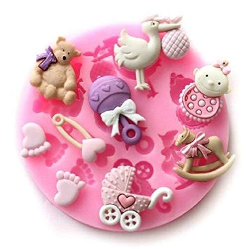 SA072 - Moule en silicone à usage alimentaire pour bébé - Pâte de sucre - Fondants - Gâteaux - Crêpes - Muffins - Décorations